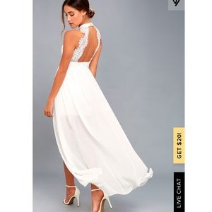 Lulu's my beloved white lace maxi white dress Med